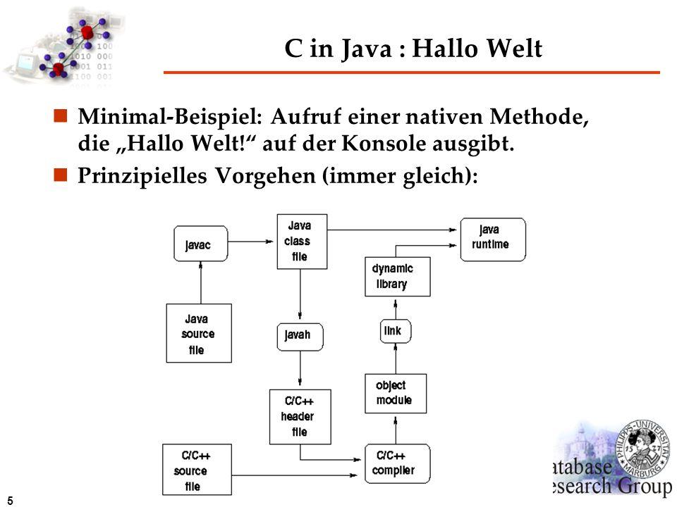 5 C in Java : Hallo Welt Minimal-Beispiel: Aufruf einer nativen Methode, die Hallo Welt! auf der Konsole ausgibt. Prinzipielles Vorgehen (immer gleich