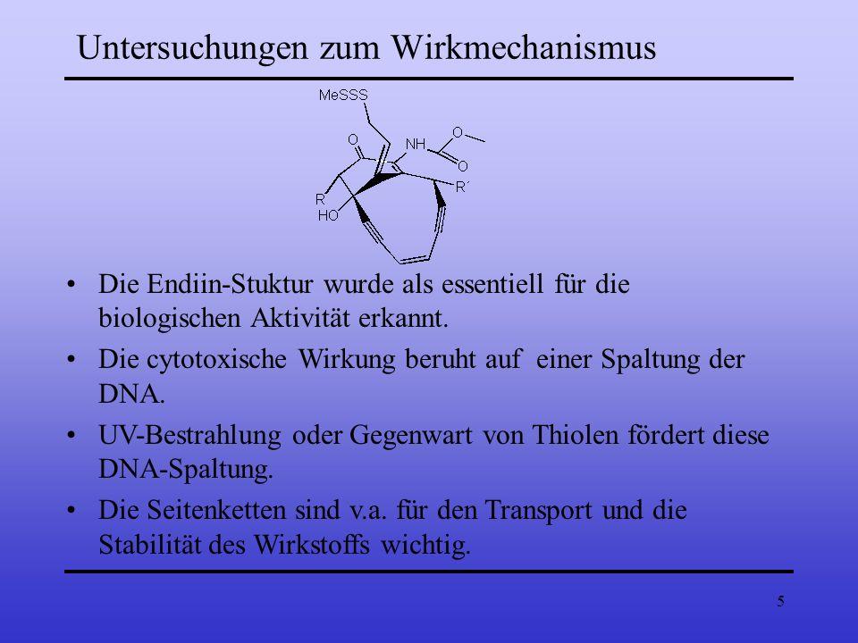 5 Die Endiin-Stuktur wurde als essentiell für die biologischen Aktivität erkannt. Die cytotoxische Wirkung beruht auf einer Spaltung der DNA. UV-Bestr