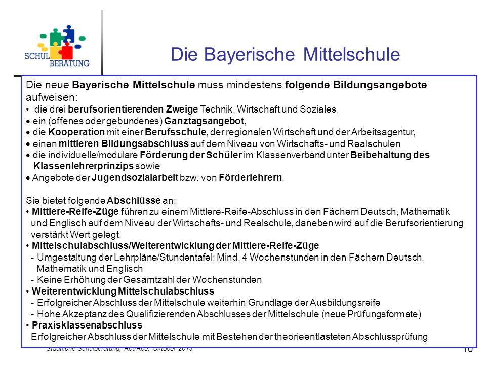 Staatliche Schulberatung, Röt/Roe, Oktober 2013 10 Die Bayerische Mittelschule Die neue Bayerische Mittelschule muss mindestens folgende Bildungsangeb