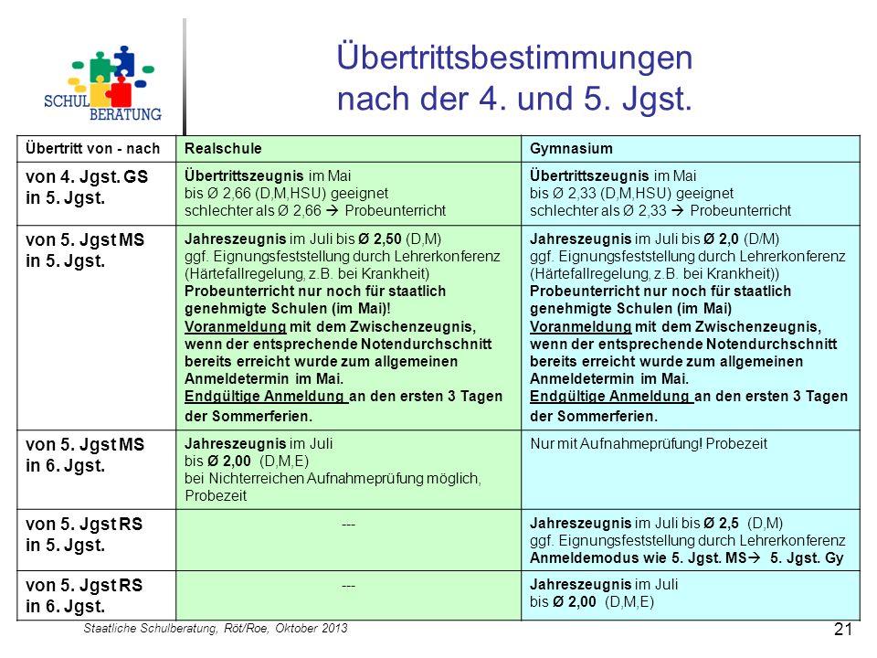 Staatliche Schulberatung, Röt/Roe, Oktober 2013 21 Übertrittsbestimmungen nach der 4. und 5. Jgst. Übertritt von - nachRealschuleGymnasium von 4. Jgst