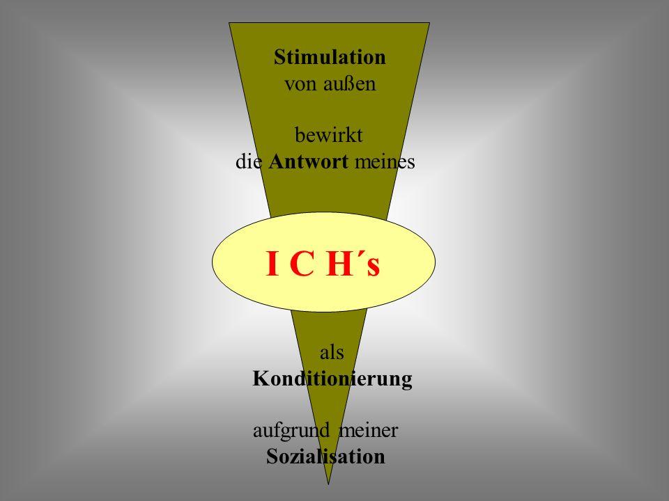 I C H´s bewirkt die Antwort meines Stimulation von außen als Konditionierung aufgrund meiner Sozialisation