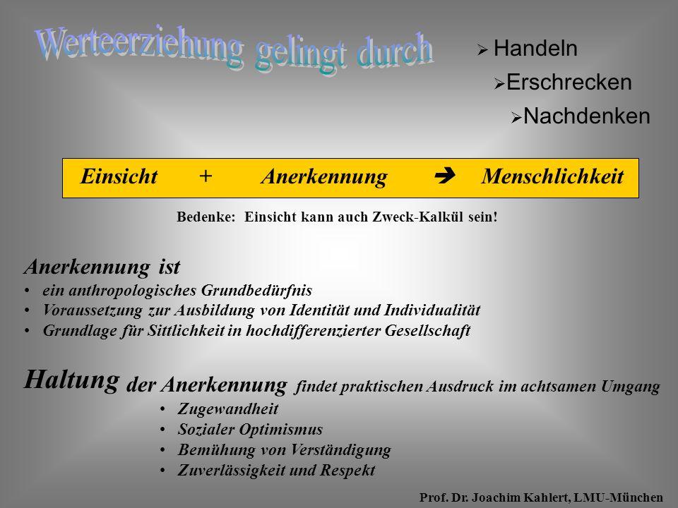 Prof. Dr. Joachim Kahlert, LMU-München AnerkennungEinsicht Bedenke: Einsicht kann auch Zweck-Kalkül sein! Handeln Menschlichkeit+ Anerkennung ist ein