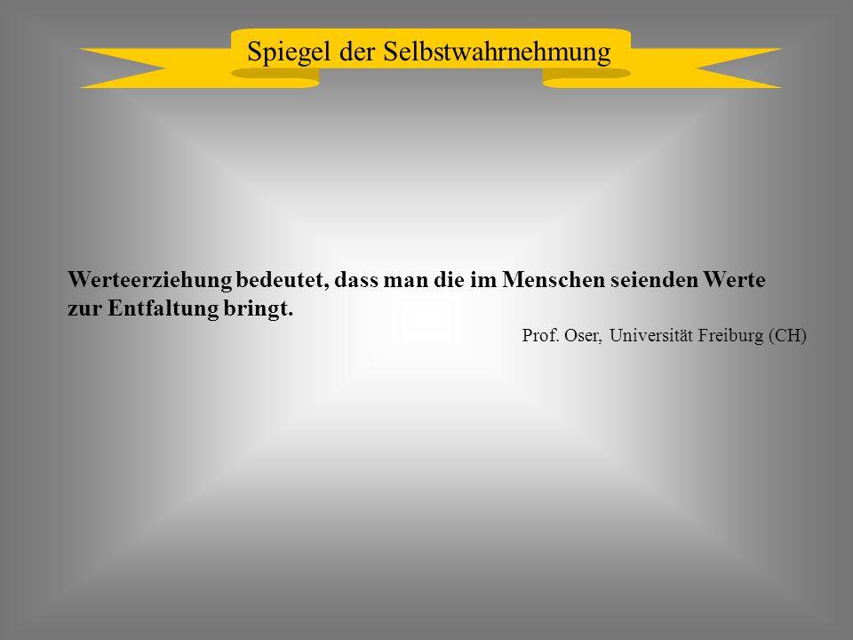Spiegel der Selbstwahrnehmung Werteerziehung bedeutet, dass man die im Menschen seienden Werte zur Entfaltung bringt. Prof. Oser, Universität Freiburg