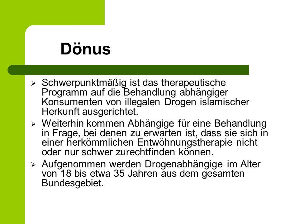 Dönus Schwerpunktmäßig ist das therapeutische Programm auf die Behandlung abhängiger Konsumenten von illegalen Drogen islamischer Herkunft ausgerichtet.