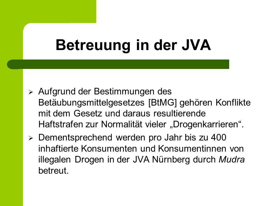 Betreuung in der JVA Aufgrund der Bestimmungen des Betäubungsmittelgesetzes [BtMG] gehören Konflikte mit dem Gesetz und daraus resultierende Haftstrafen zur Normalität vieler Drogenkarrieren.