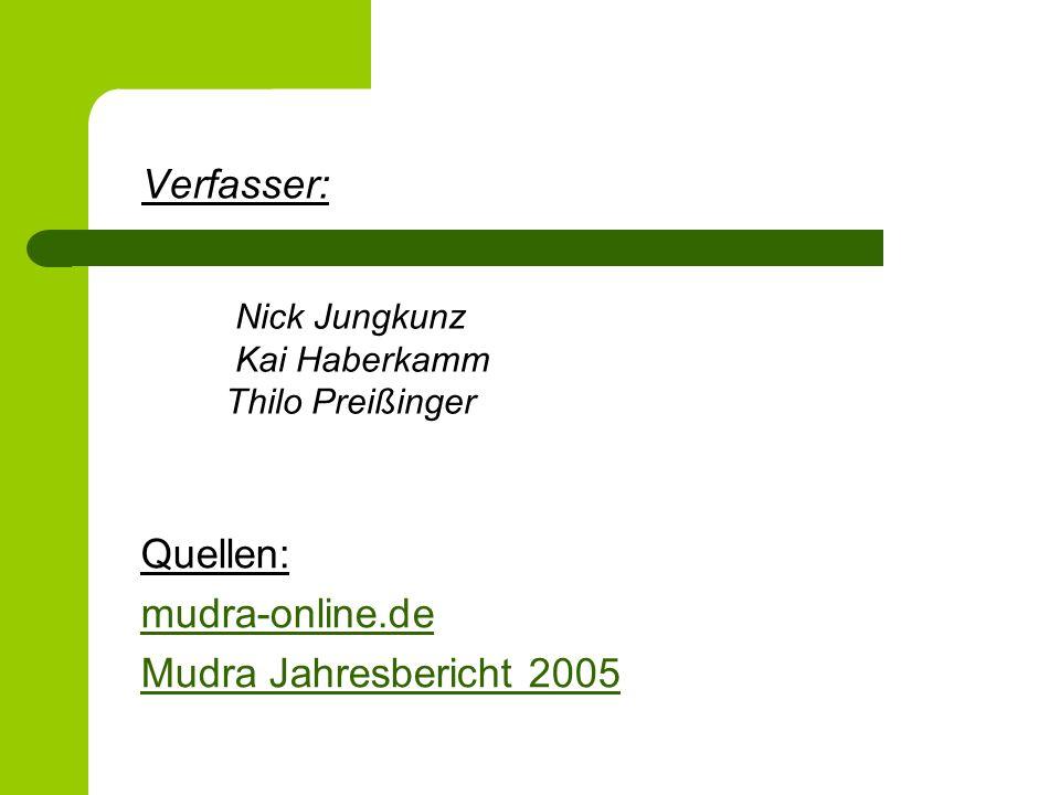 Verfasser: Quellen: mudra-online.de Mudra Jahresbericht 2005 Nick Jungkunz Kai Haberkamm Thilo Preißinger