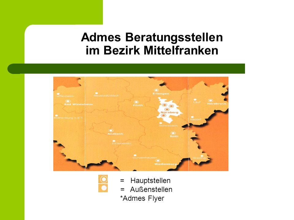 Admes Beratungsstellen im Bezirk Mittelfranken = Hauptstellen = Außenstellen *Admes Flyer