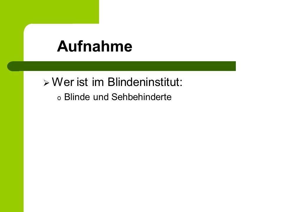Wer ist im Blindeninstitut: o Blinde und Sehbehinderte