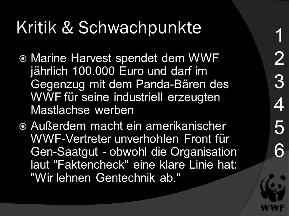 Kritik & Schwachpunkte Marine Harvest spendet dem WWF jährlich 100.000 Euro und darf im Gegenzug mit dem Panda-Bären des WWF für seine industriell erz