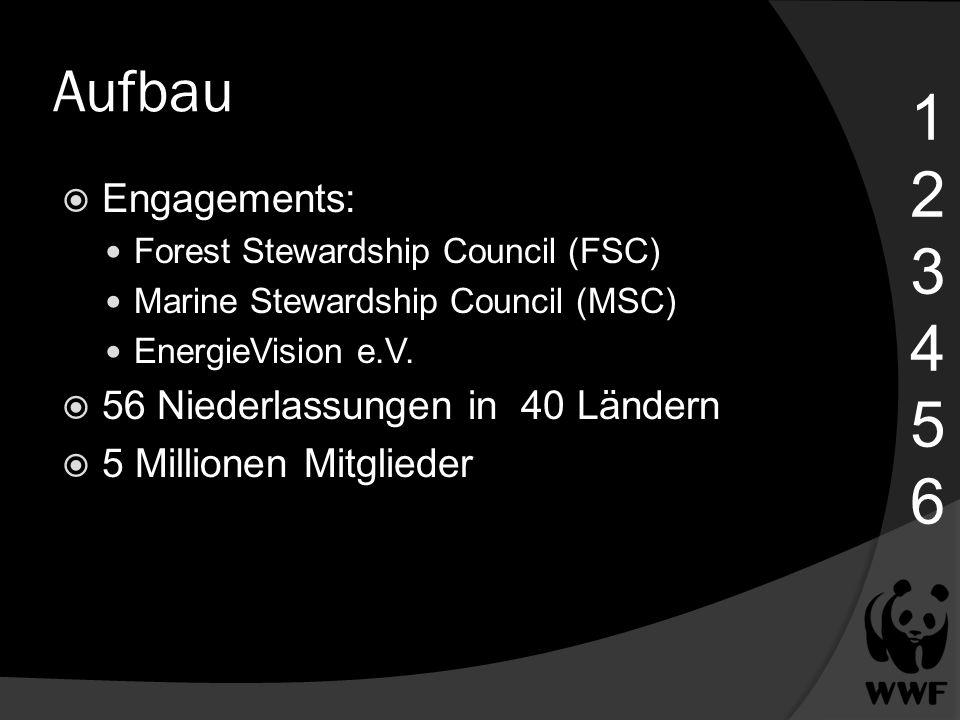 Aufbau 123456123456 Engagements: Forest Stewardship Council (FSC) Marine Stewardship Council (MSC) EnergieVision e.V. 56 Niederlassungen in 40 Ländern