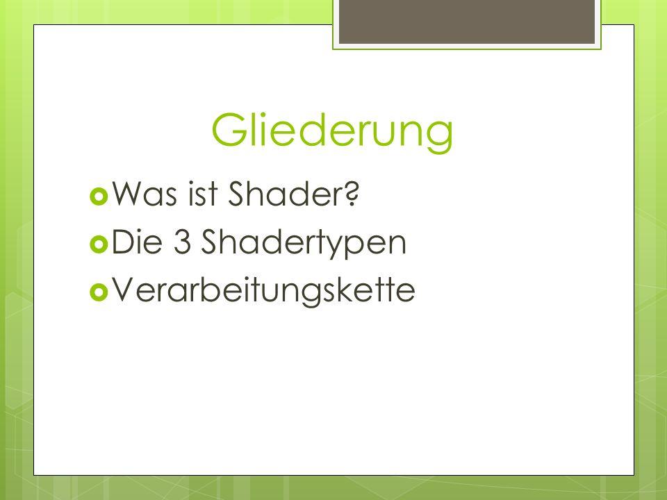 Gliederung Was ist Shader? Die 3 Shadertypen Verarbeitungskette