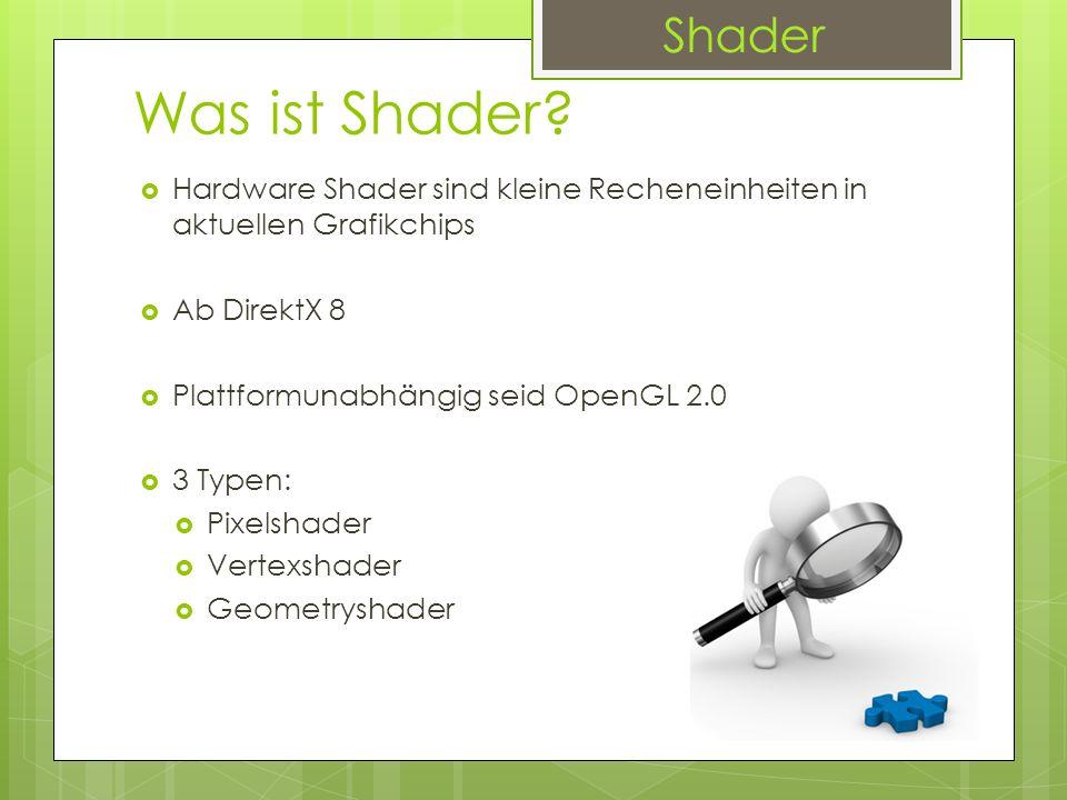 Was ist Shader? Hardware Shader sind kleine Recheneinheiten in aktuellen Grafikchips Ab DirektX 8 Plattformunabhängig seid OpenGL 2.0 3 Typen: Pixelsh