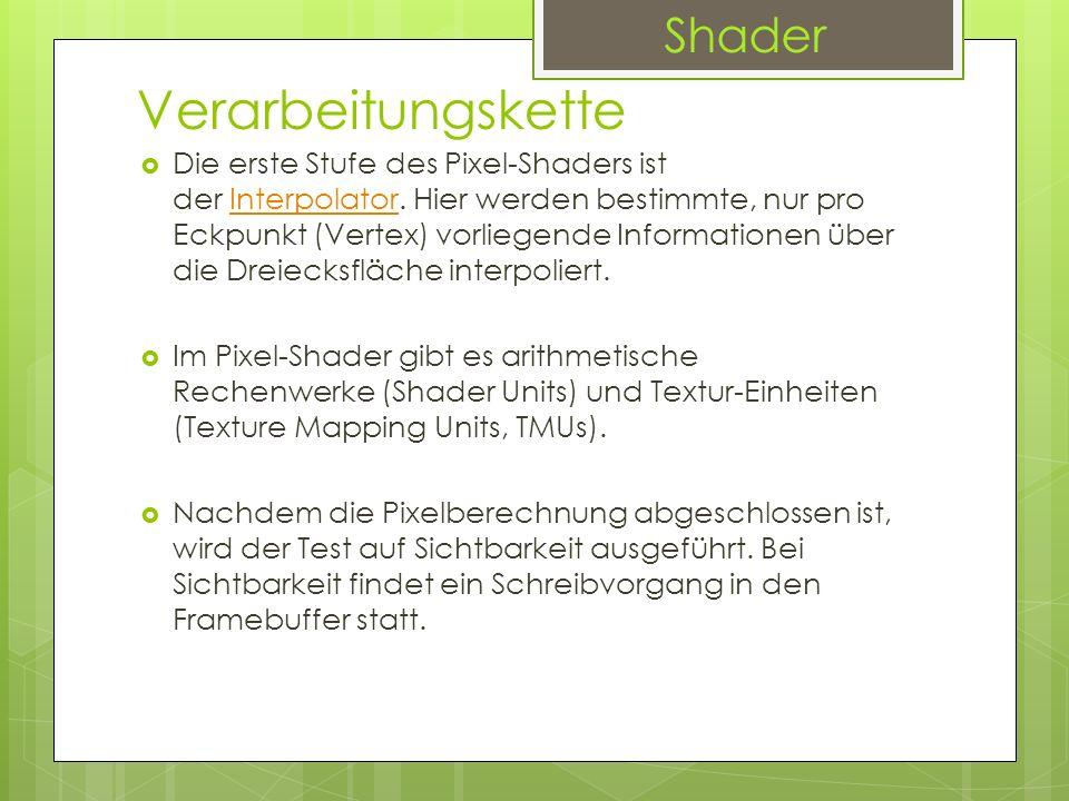 Verarbeitungskette Die erste Stufe des Pixel-Shaders ist der Interpolator. Hier werden bestimmte, nur pro Eckpunkt (Vertex) vorliegende Informationen