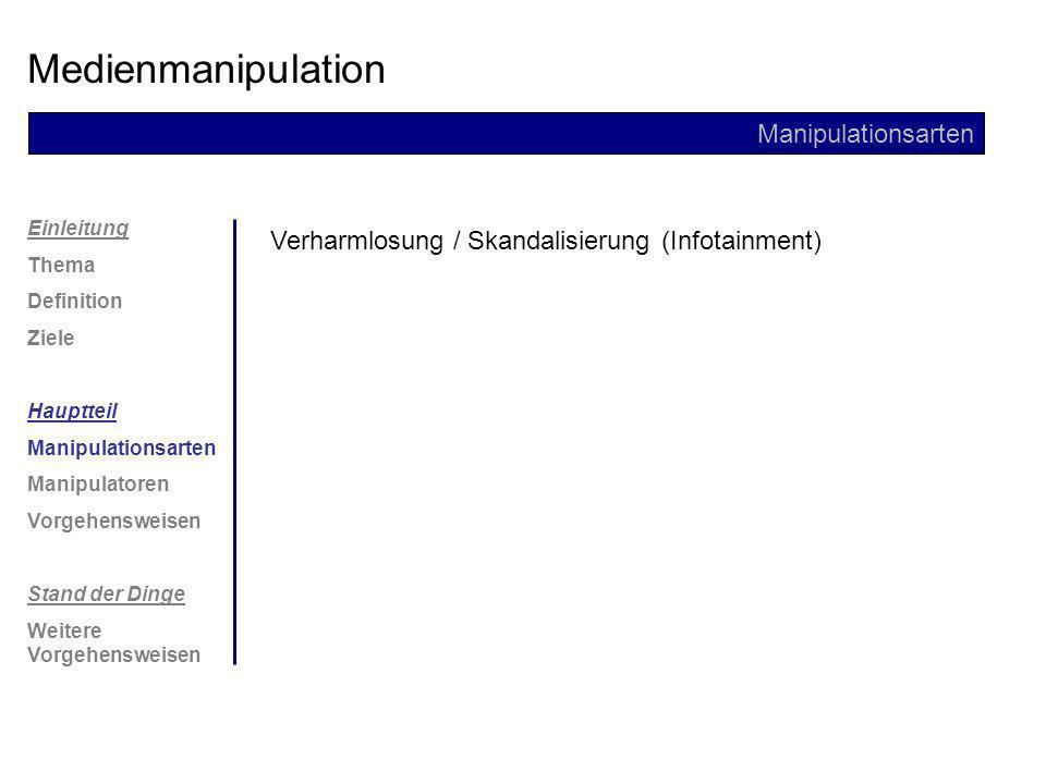 Einleitung Thema Definition Ziele Hauptteil Manipulationsarten Manipulatoren Vorgehensweisen Stand der Dinge Weitere Vorgehensweisen Medienmanipulation Manipulationsarten Sprachliche Mittel