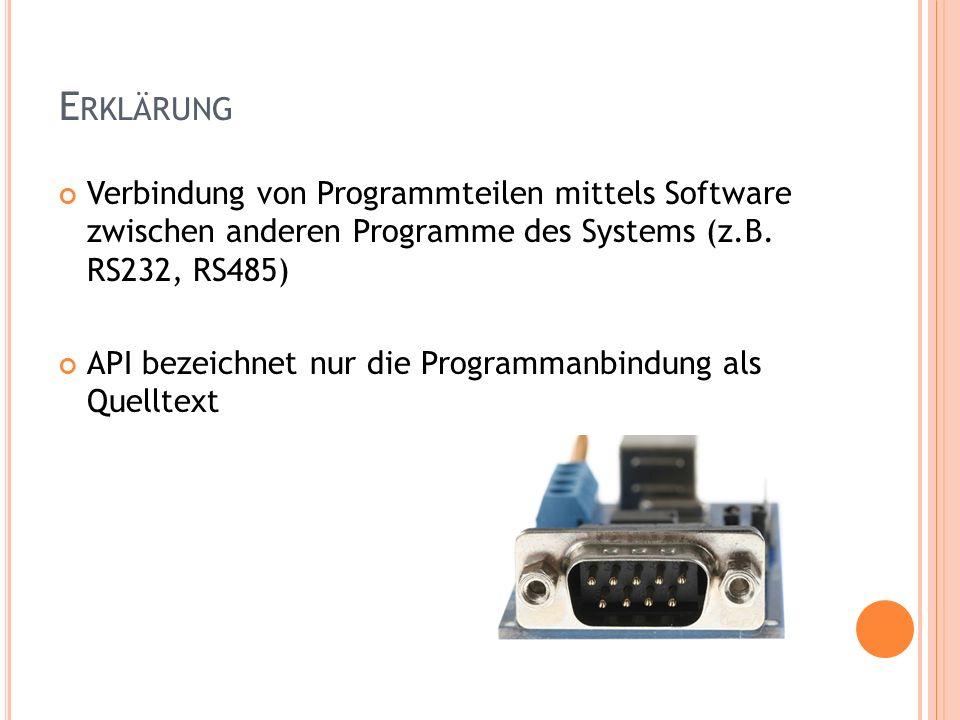 E RKLÄRUNG Verbindung von Programmteilen mittels Software zwischen anderen Programme des Systems (z.B. RS232, RS485) API bezeichnet nur die Programman