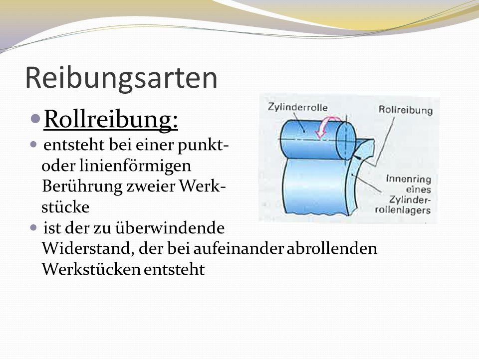Reibungsarten Rollreibung: entsteht bei einer punkt- oder linienförmigen Berührung zweier Werk- stücke ist der zu überwindende Widerstand, der bei auf