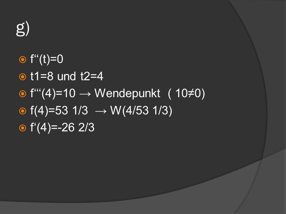 g) f(t)=0 t1=8 und t2=4 f(4)=10 Wendepunkt ( 100) f(4)=53 1/3 W(4/53 1/3) f(4)=-26 2/3