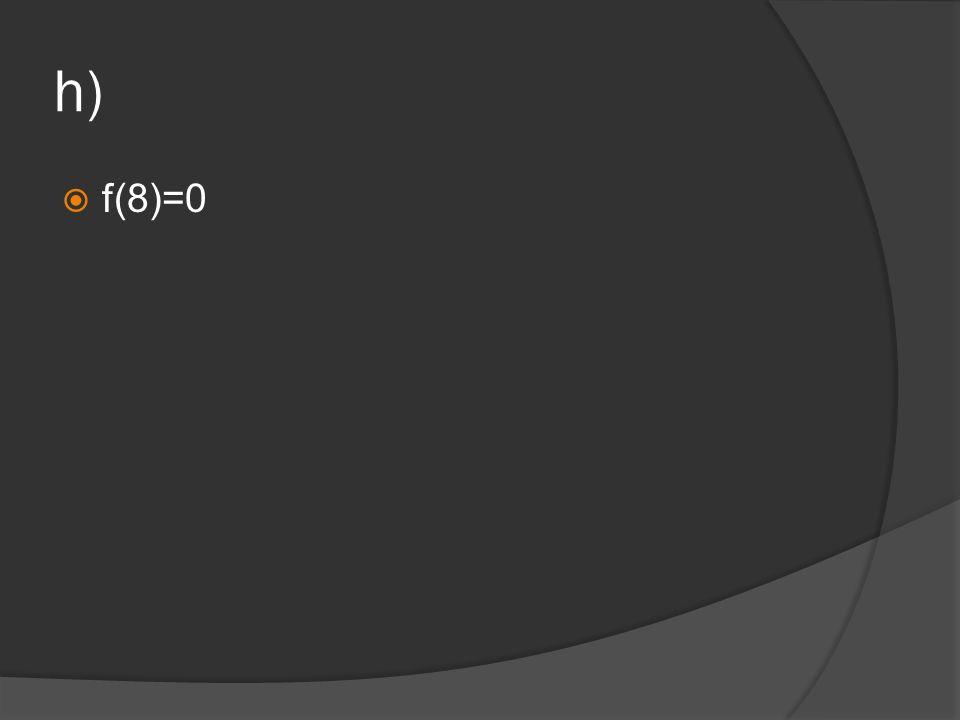 h) f(8)=0