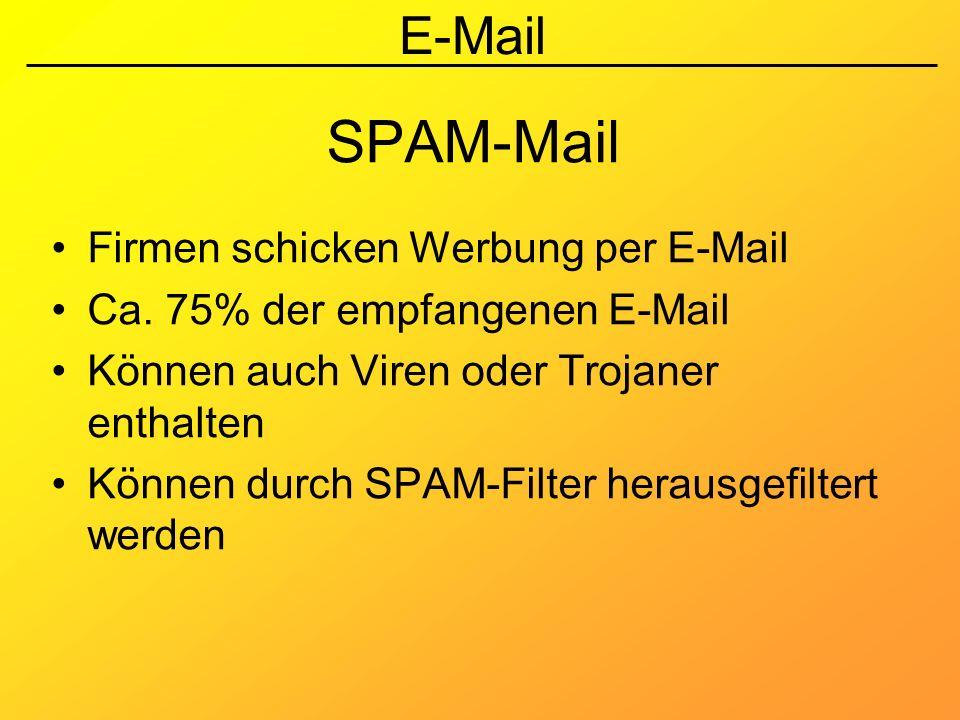 E-Mail SPAM-Mail Firmen schicken Werbung per E-Mail Ca. 75% der empfangenen E-Mail Können auch Viren oder Trojaner enthalten Können durch SPAM-Filter