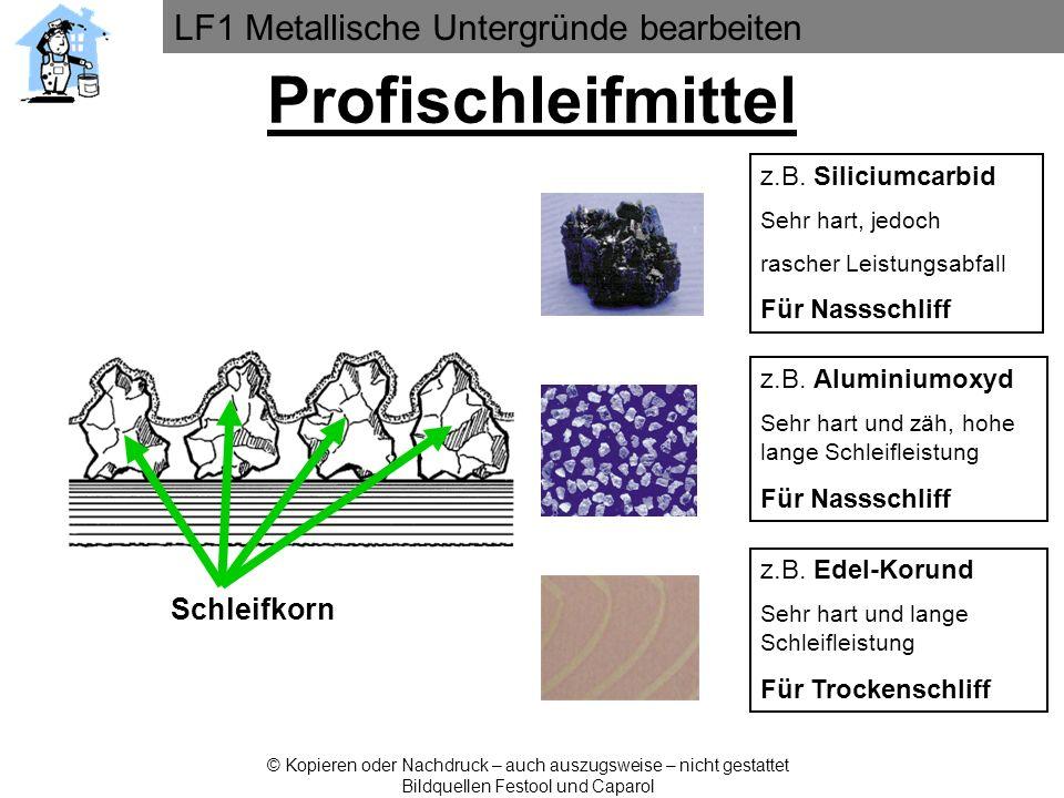 LF1 Metallische Untergründe bearbeiten © Kopieren oder Nachdruck – auch auszugsweise – nicht gestattet Bildquellen Festool und Caparol Schleifkorn Pro