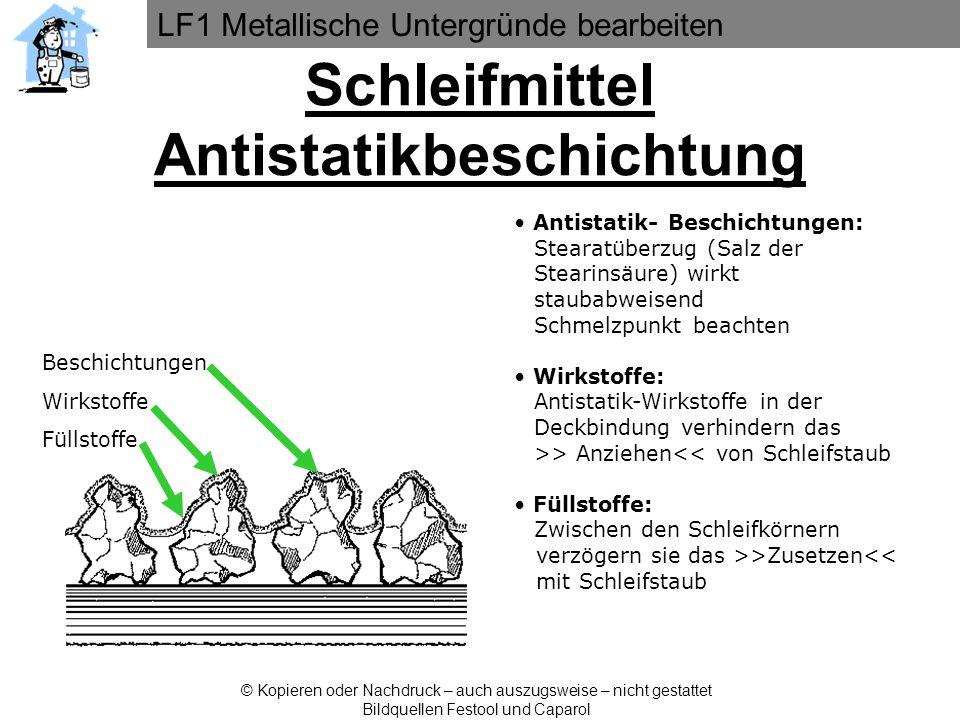 LF1 Metallische Untergründe bearbeiten © Kopieren oder Nachdruck – auch auszugsweise – nicht gestattet Bildquellen Festool und Caparol Antistatik- Bes