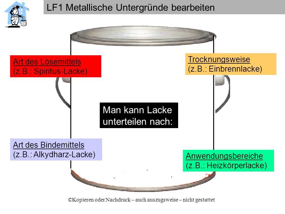 LF1 Metallische Untergründe bearbeiten ©Kopieren oder Nachdruck – auch auszugsweise – nicht gestattet Anteile der Inhaltsstoffe von lösemittelhaltigen Alkydharzbautenlacken (Kunstharzlacken) Bindemittel Pigmente u.