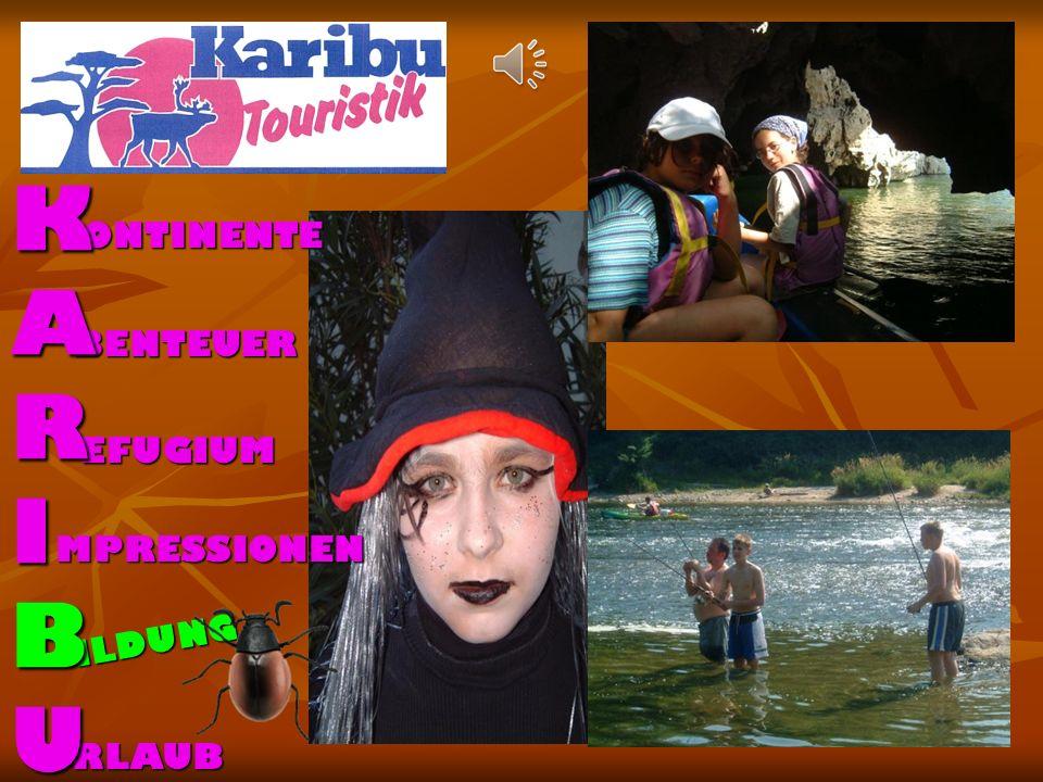 ONTINENTE BENTEUER EFUGIUM MPRESSION EN ILDUNG RLAUB K A R I B U Karibu Touristik Gütchen 8c D 42719 Solingen Telefon +49 (0) 212 / 23384 999 Telefax +49 (0) 212 / 23384998 Mail info@kaributouristik.de www.kaributouristik.de Wir planen und führen für Gruppen durch: Abenteuerreisen Jugendreisen Aktivurlaub Angelfahrten Seniorenreisen Konzerte Städtereisen Studienreisen Clubreisen Kanuwanderung Fährpassagen Kinderferien Betriebsausflüge Messebesuche Klassenfahrten mit Erlebnispädagogik Unsere wichtigsten Destinationen: Päd.