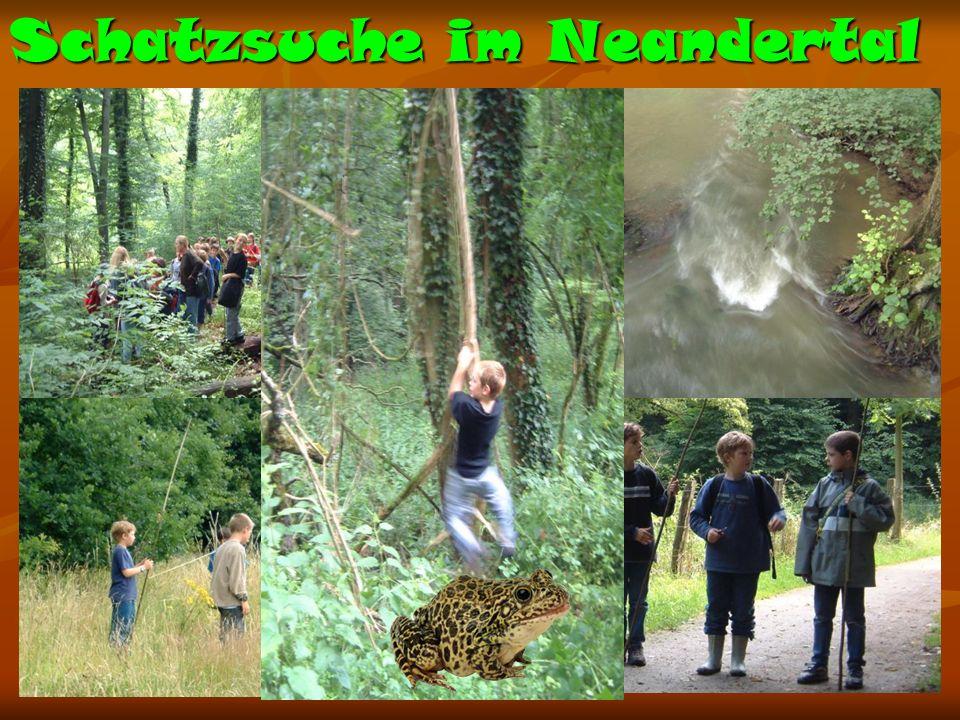 Schatzsuche im Neandertal Nach einer aufregender Jagd, ist der Schatz sicher gehoben
