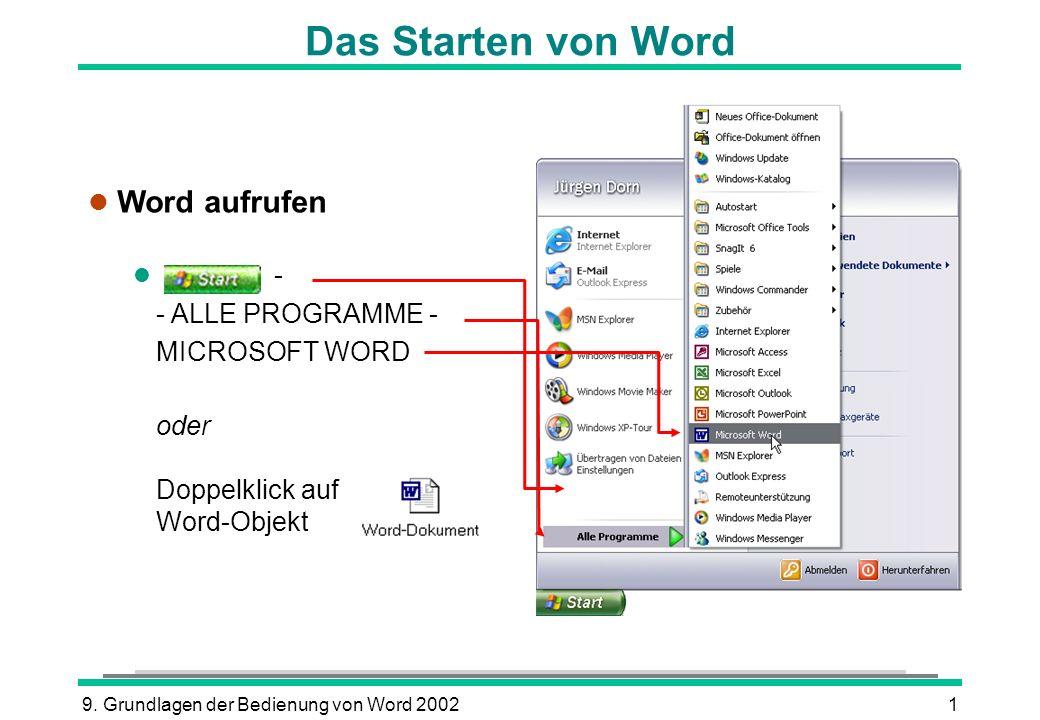 9. Grundlagen der Bedienung von Word 20021 Das Starten von Word l Word aufrufen l - - ALLE PROGRAMME - MICROSOFT WORD oder Doppelklick auf Word-Objekt