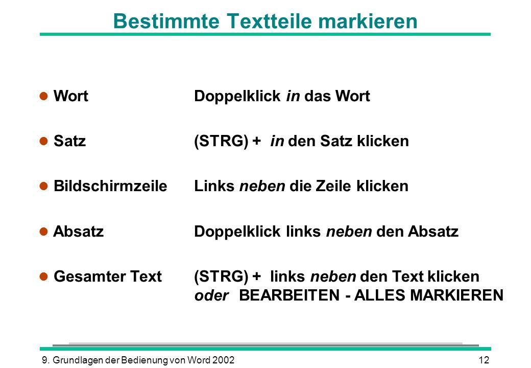 9. Grundlagen der Bedienung von Word 200212 Bestimmte Textteile markieren l Wort Doppelklick in das Wort Satz (STRG) + in den Satz klicken l Bildschir