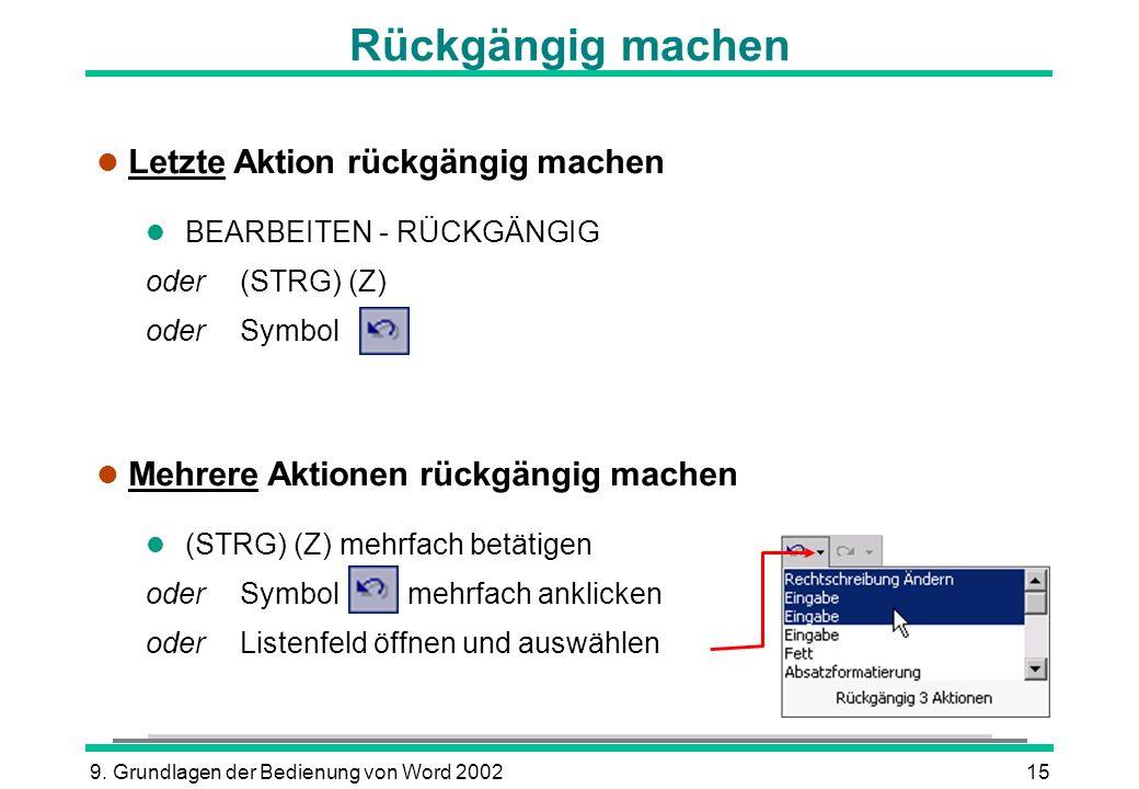 9. Grundlagen der Bedienung von Word 200215 Rückgängig machen l Letzte Aktion rückgängig machen l BEARBEITEN - RÜCKGÄNGIG oder (STRG) (Z) oder Symbol