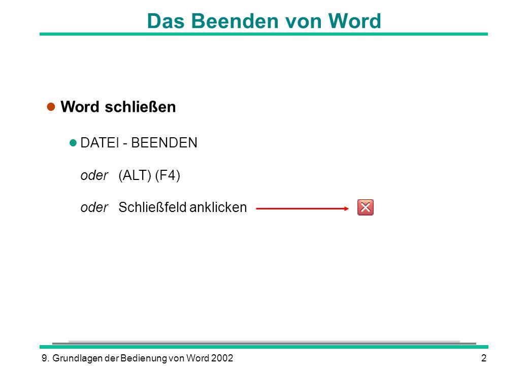 9. Grundlagen der Bedienung von Word 20022 Das Beenden von Word l Word schließen l DATEI - BEENDEN oder (ALT) (F4) oder Schließfeld anklicken