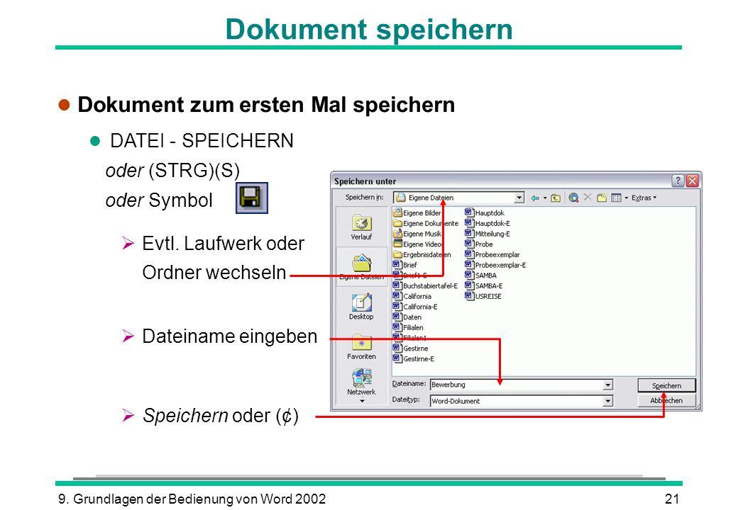 9. Grundlagen der Bedienung von Word 200221 Dokument speichern l Dokument zum ersten Mal speichern l DATEI - SPEICHERN oder (STRG)(S) oder Symbol Evtl