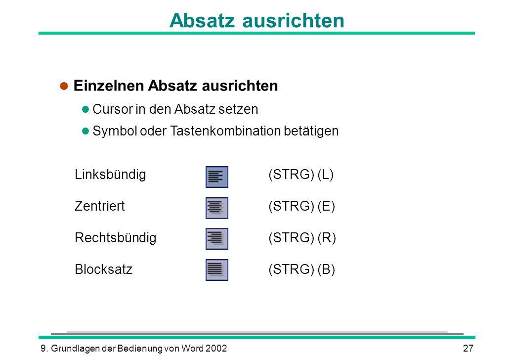9. Grundlagen der Bedienung von Word 200227 Absatz ausrichten Linksbündig(STRG) (L) Zentriert(STRG) (E) Rechtsbündig(STRG) (R) Blocksatz(STRG) (B) l E