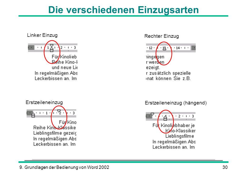 9. Grundlagen der Bedienung von Word 200230 Die verschiedenen Einzugsarten Linker Einzug Erstzeileneinzug (hängend) Erstzeileneinzug Rechter Einzug