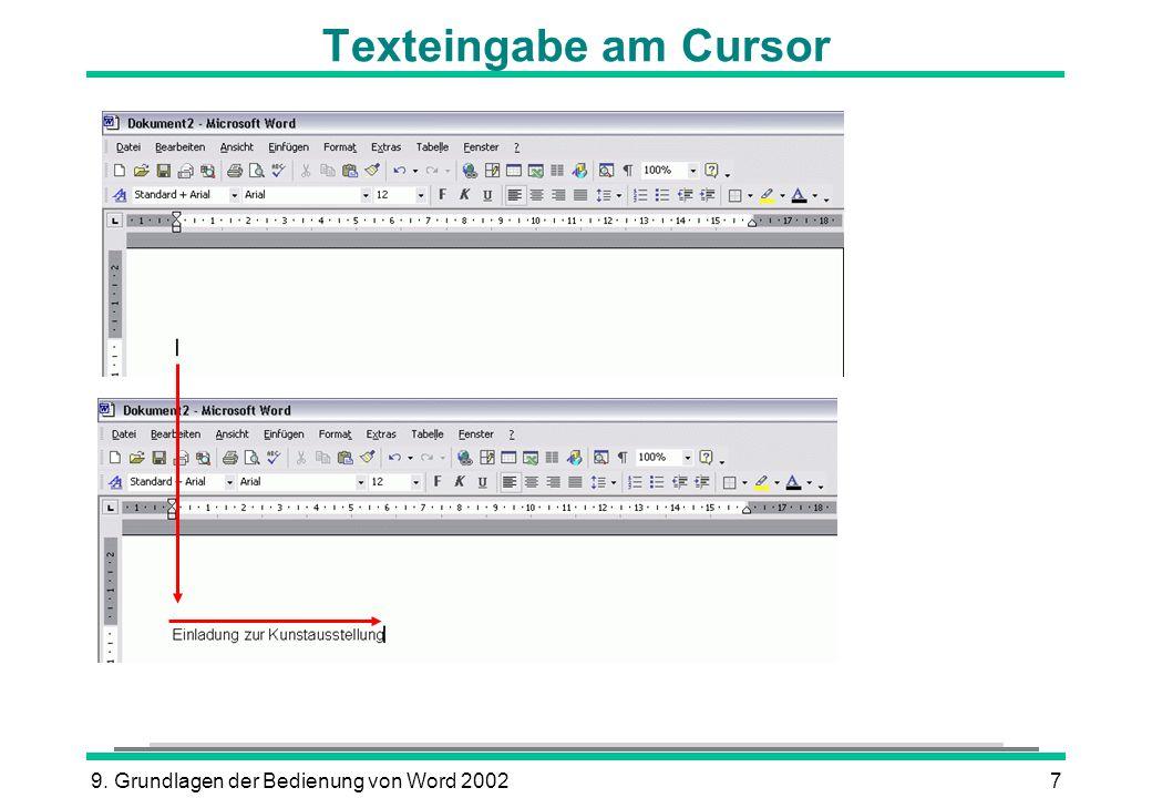 9. Grundlagen der Bedienung von Word 20027 Texteingabe am Cursor