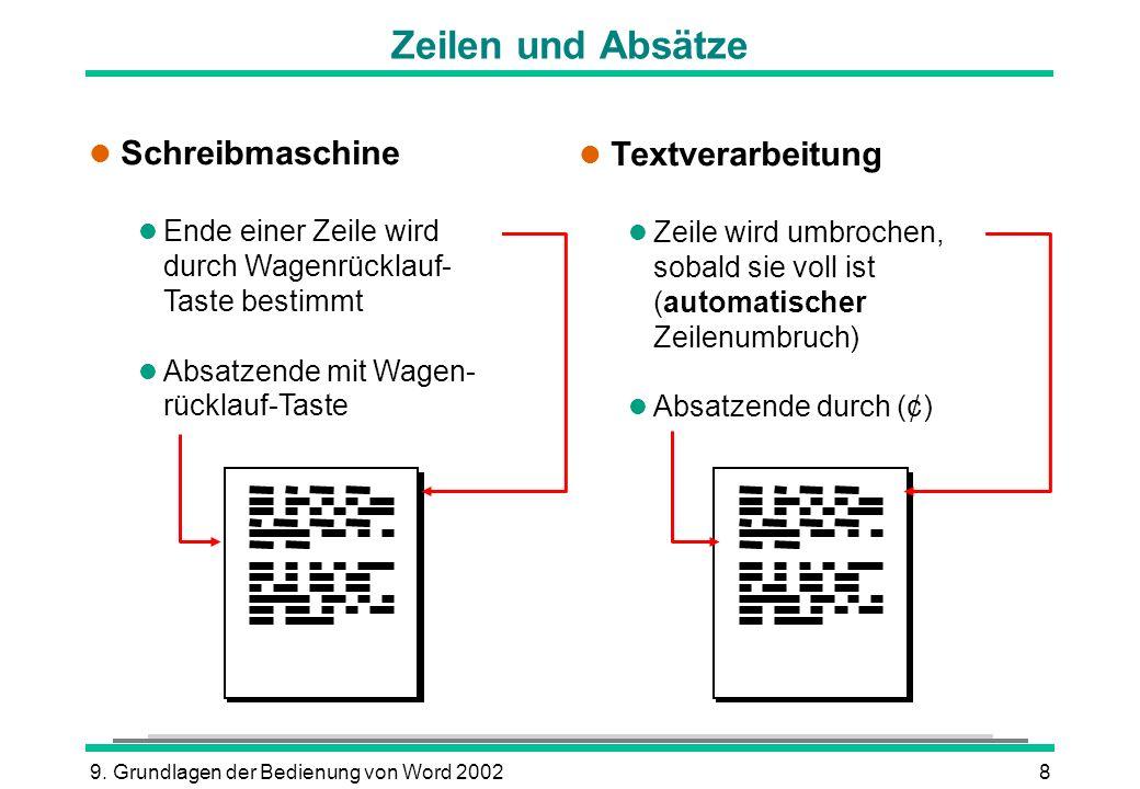 9. Grundlagen der Bedienung von Word 20028 Zeilen und Absätze l Schreibmaschine l Ende einer Zeile wird durch Wagenrücklauf- Taste bestimmt l Absatzen