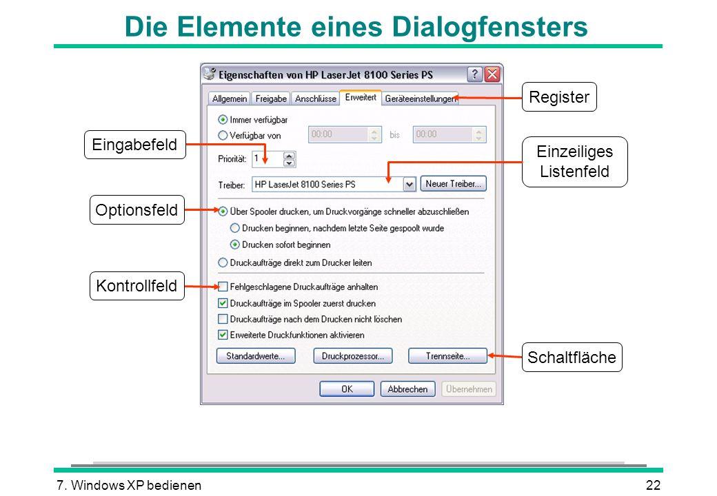 7. Windows XP bedienen22 Die Elemente eines Dialogfensters Einzeiliges Listenfeld Register Schaltfläche Optionsfeld Eingabefeld Kontrollfeld