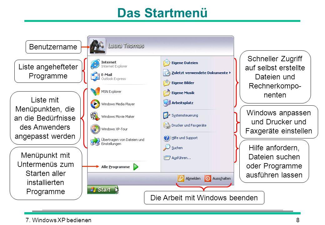 7. Windows XP bedienen8 Das Startmenü Menüpunkt mit Untermenüs zum Starten aller installierten Programme Benutzername Liste mit Menüpunkten, die an di