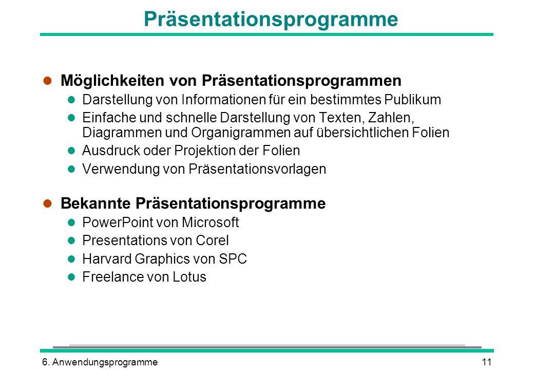 6. Anwendungsprogramme11 Präsentationsprogramme l Möglichkeiten von Präsentationsprogrammen l Darstellung von Informationen für ein bestimmtes Publiku