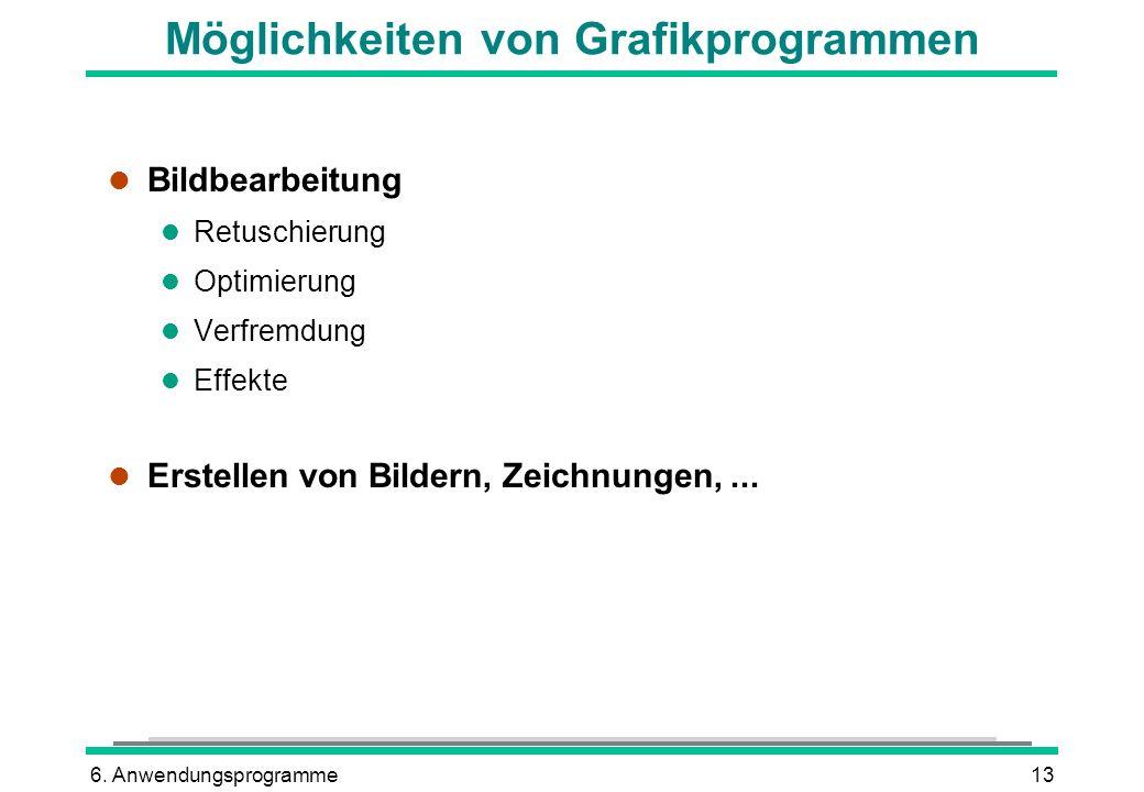 6. Anwendungsprogramme13 Möglichkeiten von Grafikprogrammen l Bildbearbeitung l Retuschierung l Optimierung l Verfremdung l Effekte l Erstellen von Bi