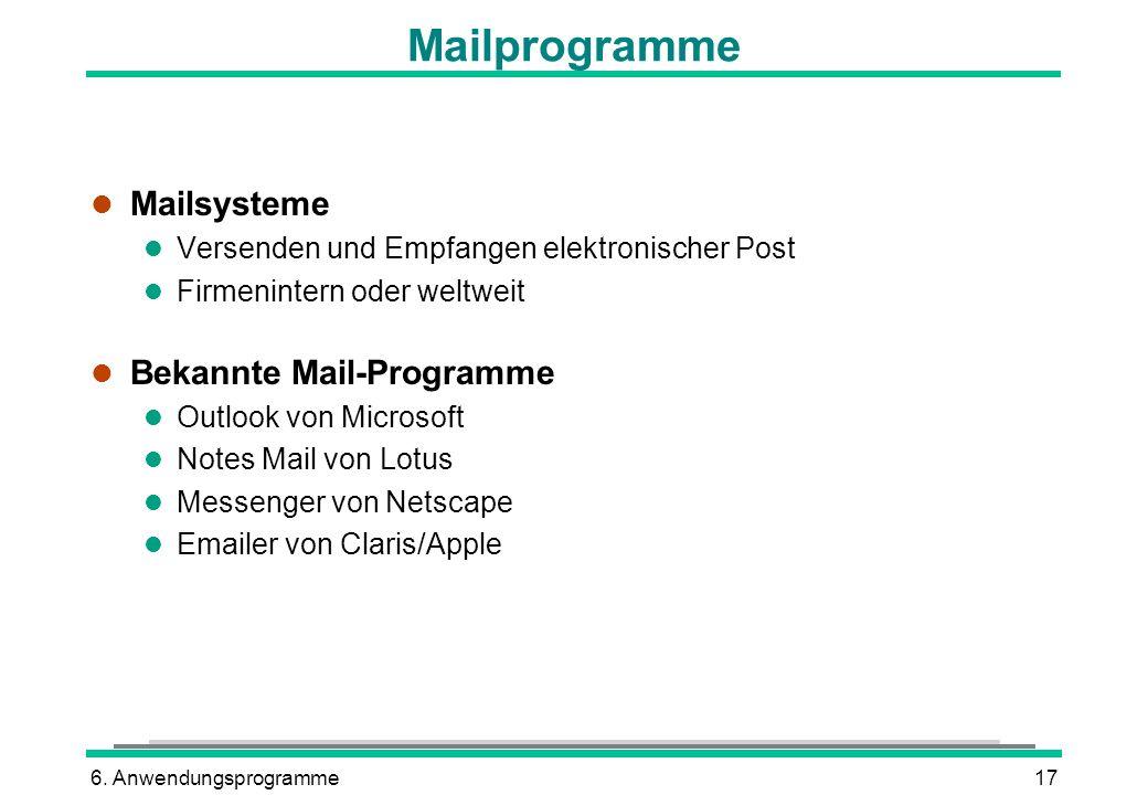 6. Anwendungsprogramme17 Mailprogramme l Mailsysteme l Versenden und Empfangen elektronischer Post l Firmenintern oder weltweit l Bekannte Mail-Progra