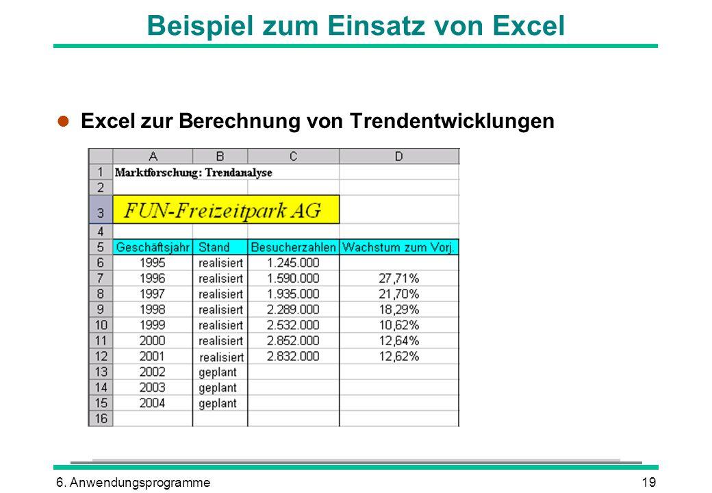 6. Anwendungsprogramme19 Beispiel zum Einsatz von Excel l Excel zur Berechnung von Trendentwicklungen