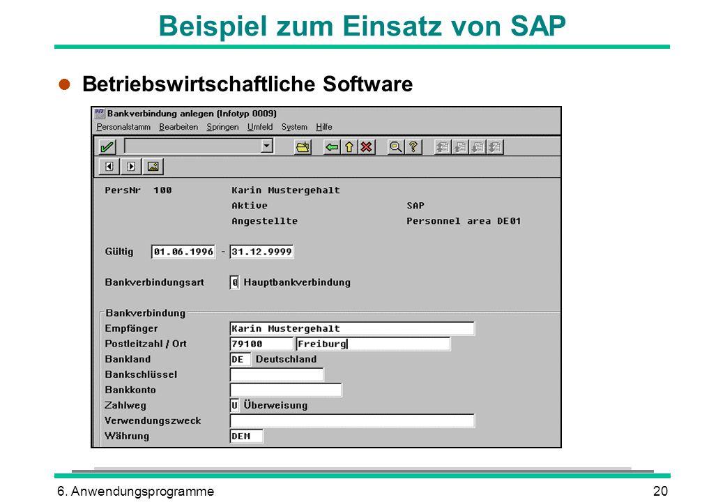 6. Anwendungsprogramme20 Beispiel zum Einsatz von SAP l Betriebswirtschaftliche Software