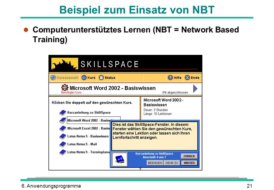 6. Anwendungsprogramme21 Beispiel zum Einsatz von NBT l Computerunterstütztes Lernen (NBT = Network Based Training)