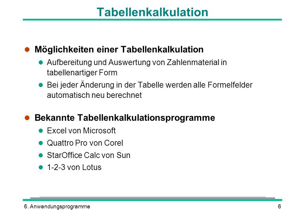 6. Anwendungsprogramme6 Tabellenkalkulation l Möglichkeiten einer Tabellenkalkulation l Aufbereitung und Auswertung von Zahlenmaterial in tabellenarti