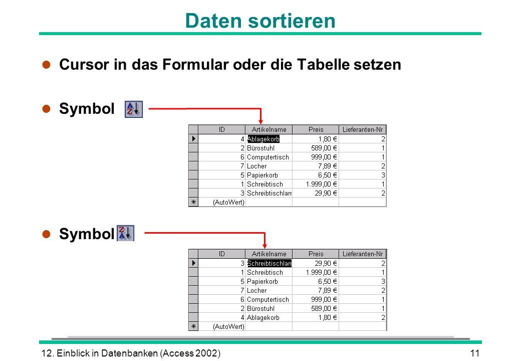 12. Einblick in Datenbanken (Access 2002)11 Daten sortieren l Cursor in das Formular oder die Tabelle setzen l Symbol