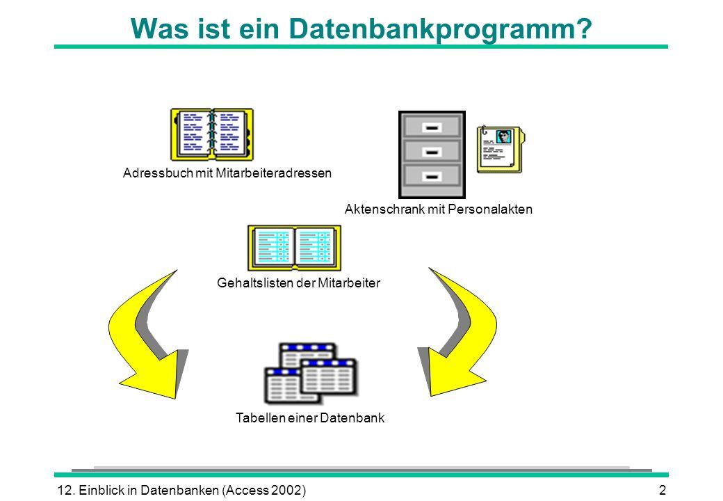 12. Einblick in Datenbanken (Access 2002)2 Was ist ein Datenbankprogramm? Adressbuch mit Mitarbeiteradressen Gehaltslisten der Mitarbeiter Aktenschran