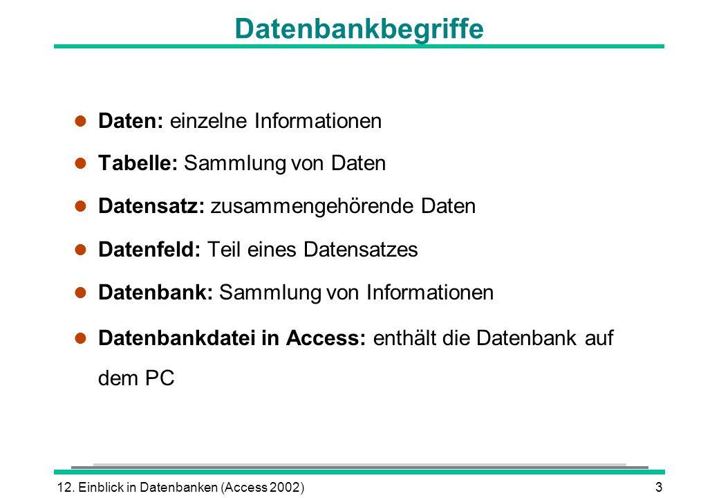 12. Einblick in Datenbanken (Access 2002)3 Datenbankbegriffe l Daten: einzelne Informationen l Tabelle: Sammlung von Daten l Datensatz: zusammengehöre