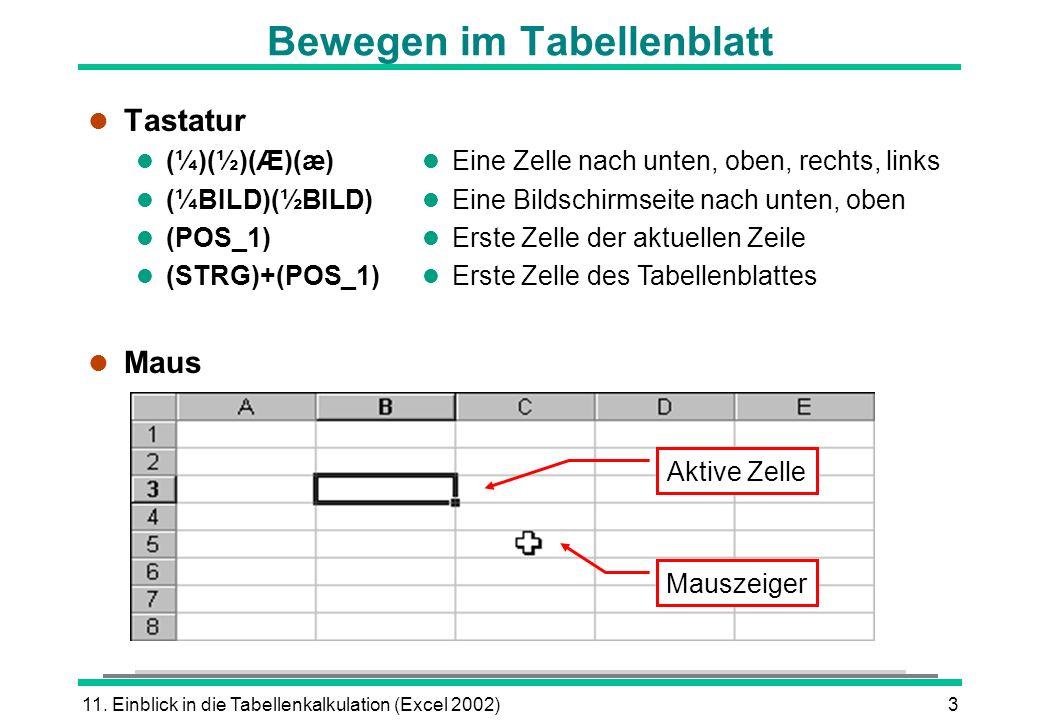 11. Einblick in die Tabellenkalkulation (Excel 2002)3 Bewegen im Tabellenblatt l Tastatur (¼)(½)(Æ)(æ) (¼BILD)(½BILD) (POS_1) (STRG)+(POS_1) l Maus l